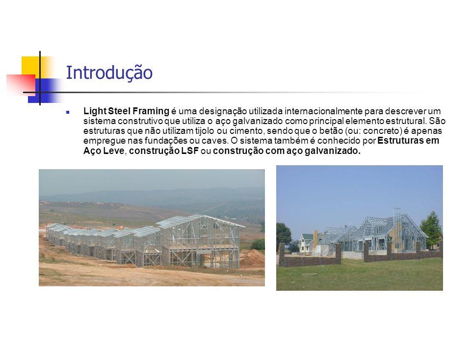 Introdução Light Steel Framing é uma designação utilizada internacionalmente para descrever um sistema construtivo que utiliza o aço galvanizado como