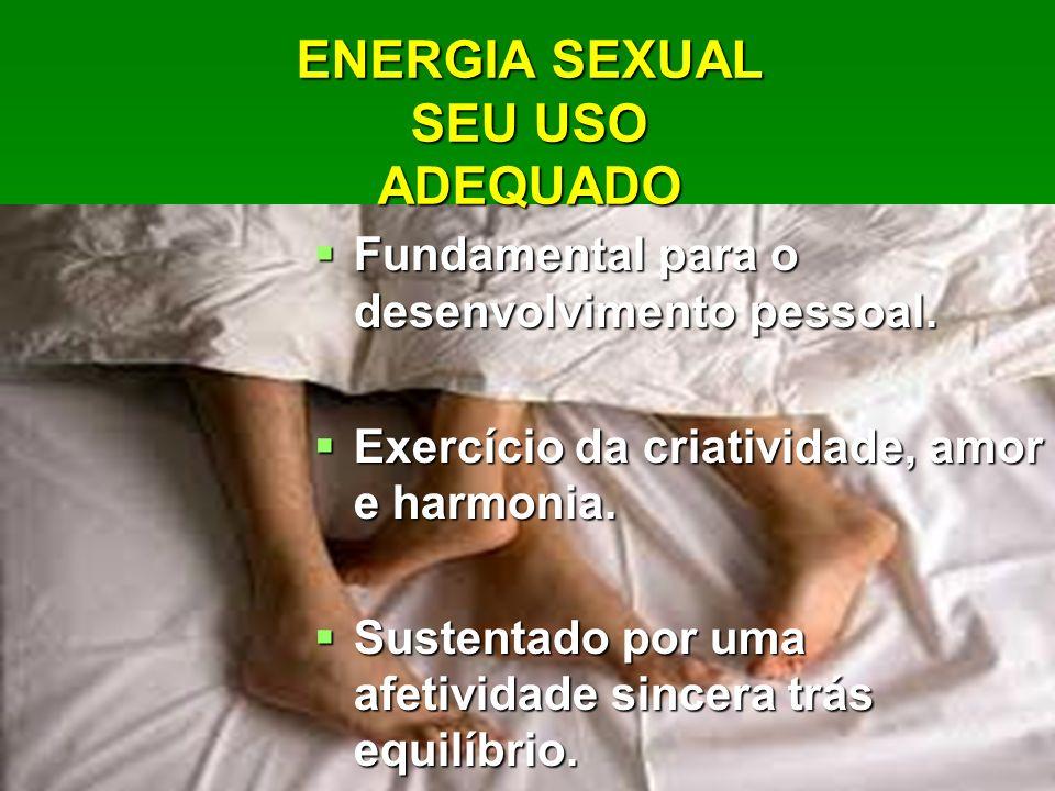 ENERGIA SEXUAL SEU USO ADEQUADO Fundamental para o desenvolvimento pessoal. Fundamental para o desenvolvimento pessoal. Exercício da criatividade, amo