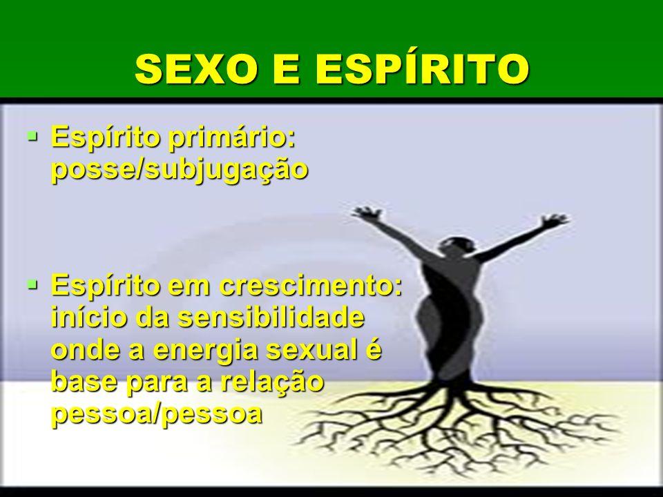 SEXO E ESPÍRITO SEXO E ESPÍRITO Espírito primário: posse/subjugação Espírito primário: posse/subjugação Espírito em crescimento: início da sensibilida