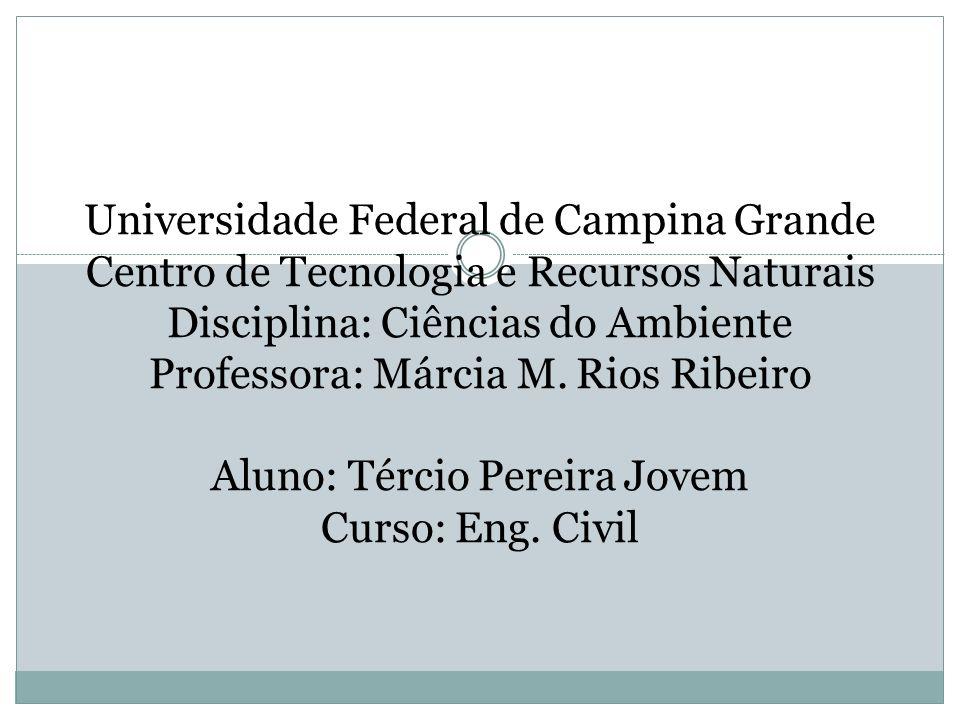 Universidade Federal de Campina Grande Centro de Tecnologia e Recursos Naturais Disciplina: Ciências do Ambiente Professora: Márcia M. Rios Ribeiro Al