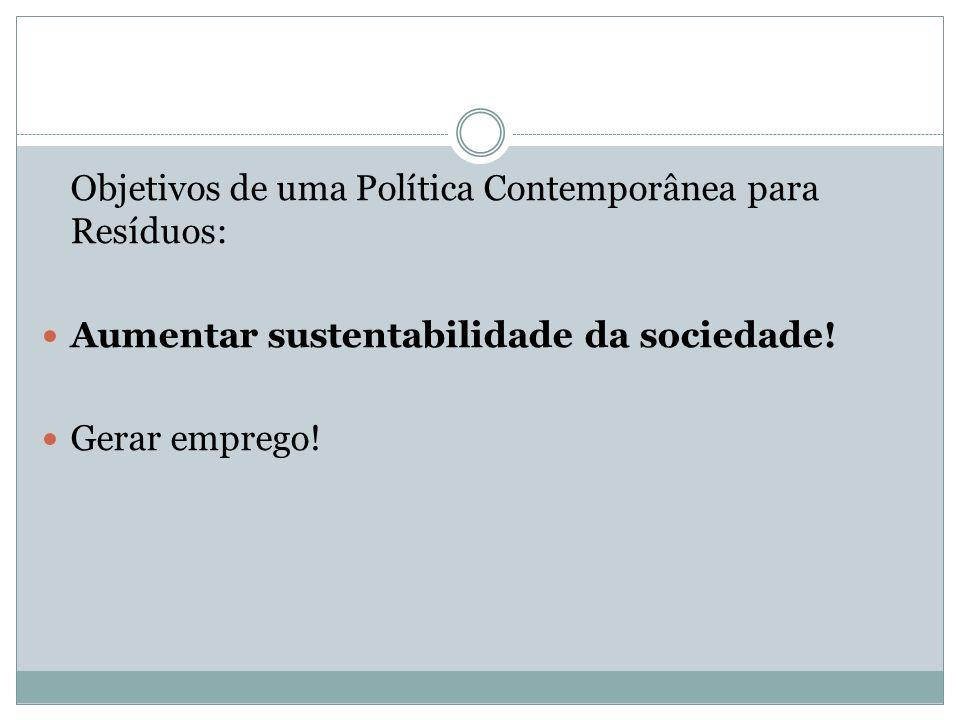 Objetivos de uma Política Contemporânea para Resíduos: Aumentar sustentabilidade da sociedade! Gerar emprego!