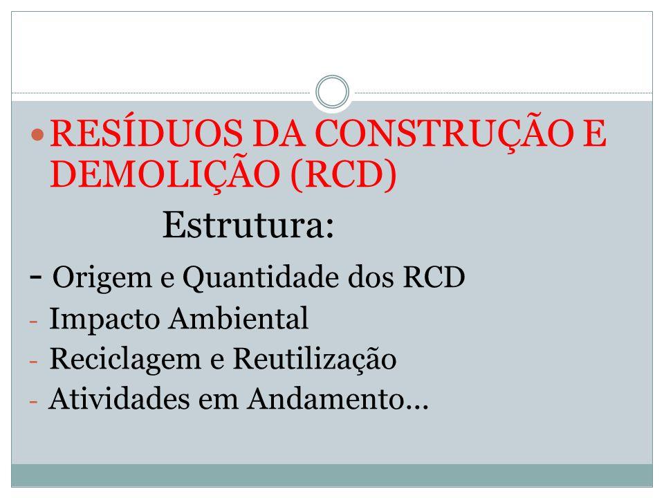 RESÍDUOS DA CONSTRUÇÃO E DEMOLIÇÃO (RCD) Estrutura: - Origem e Quantidade dos RCD - Impacto Ambiental - Reciclagem e Reutilização - Atividades em Anda