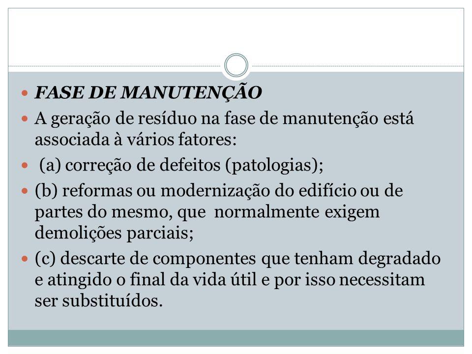 FASE DE MANUTENÇÃO A geração de resíduo na fase de manutenção está associada à vários fatores: (a) correção de defeitos (patologias); (b) reformas ou