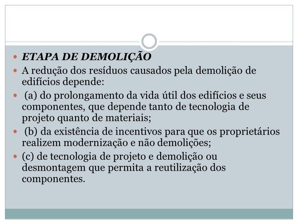 ETAPA DE DEMOLIÇÃO A redução dos resíduos causados pela demolição de edifícios depende: (a) do prolongamento da vida útil dos edifícios e seus compone
