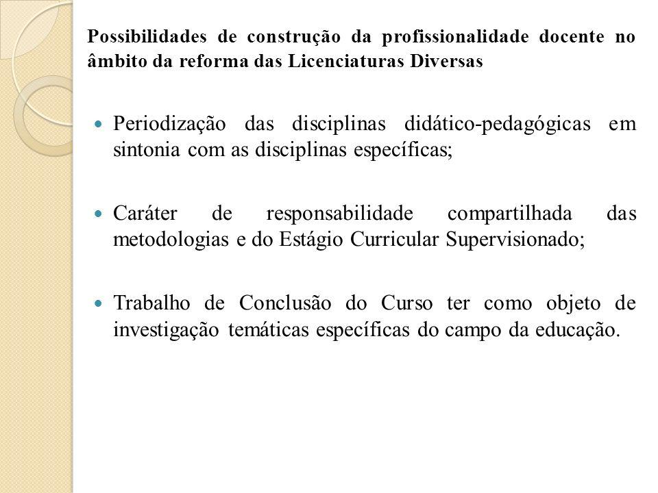 Possibilidades de construção da profissionalidade docente no âmbito da reforma das Licenciaturas Diversas Periodização das disciplinas didático-pedagó