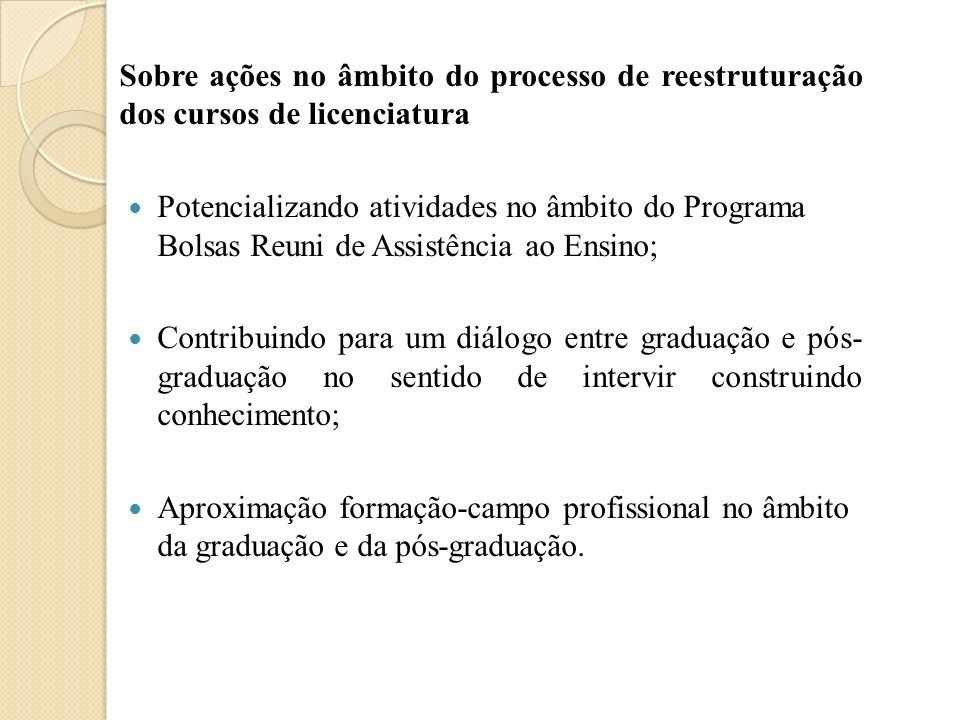 Sobre ações no âmbito do processo de reestruturação dos cursos de licenciatura Potencializando atividades no âmbito do Programa Bolsas Reuni de Assist