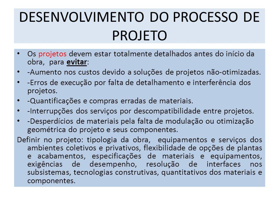 DESENVOLVIMENTO DO PROCESSO DE PROJETO Os projetos devem estar totalmente detalhados antes do início da obra, para evitar: -Aumento nos custos devido a soluções de projetos não-otimizadas.