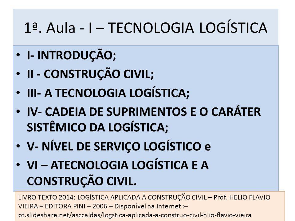 1ª. Aula - I – TECNOLOGIA LOGÍSTICA I- INTRODUÇÃO; II - CONSTRUÇÃO CIVIL; III- A TECNOLOGIA LOGÍSTICA; IV- CADEIA DE SUPRIMENTOS E O CARÁTER SISTÊMICO