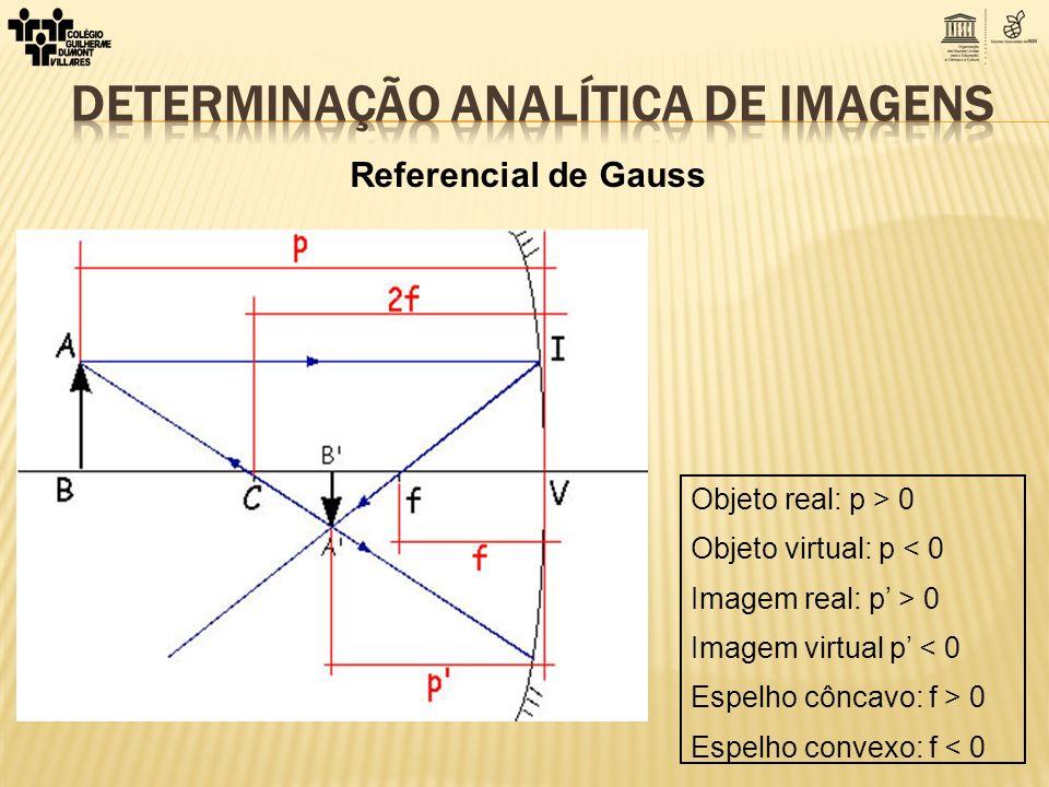 Referencial de Gauss Objeto real: p > 0 Objeto virtual: p < 0 Imagem real: p > 0 Imagem virtual p < 0 Espelho côncavo: f > 0 Espelho convexo: f < 0