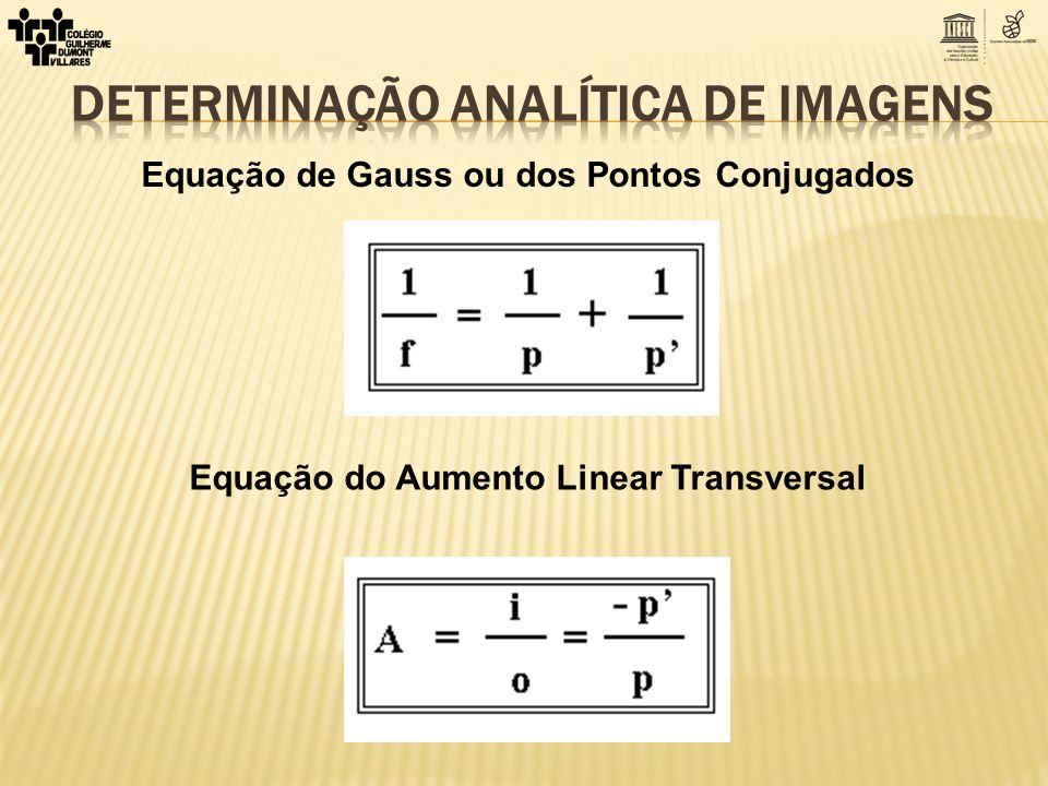 Equação de Gauss ou dos Pontos Conjugados Equação do Aumento Linear Transversal