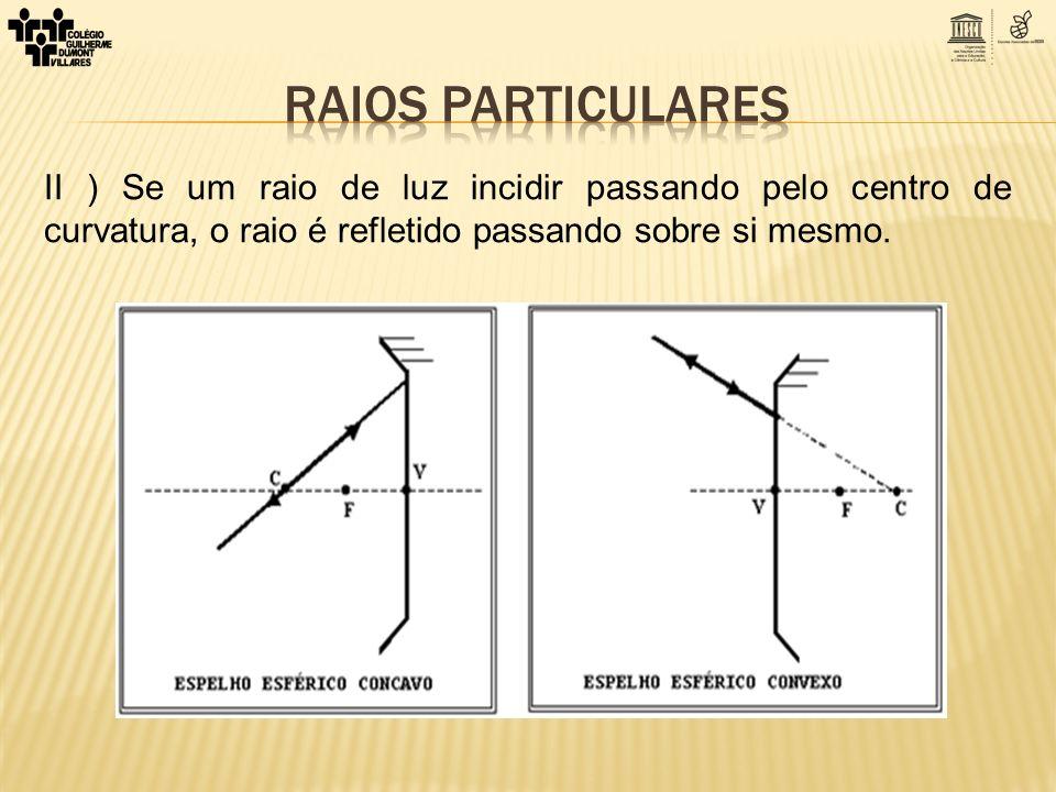 II ) Se um raio de luz incidir passando pelo centro de curvatura, o raio é refletido passando sobre si mesmo.