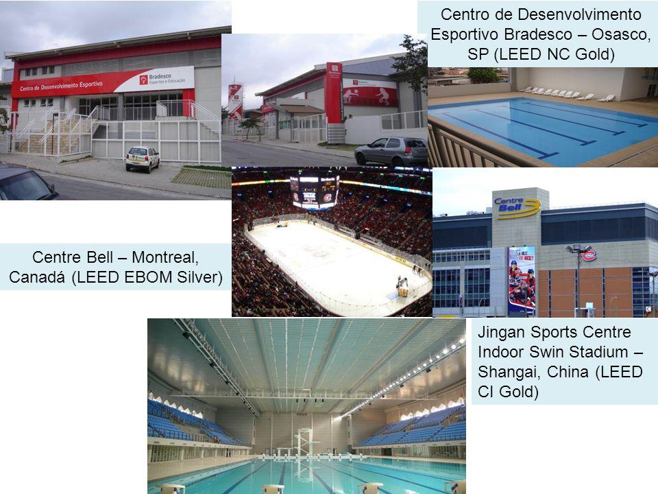 Centro de Desenvolvimento Esportivo Bradesco – Osasco, SP (LEED NC Gold) Centre Bell – Montreal, Canadá (LEED EBOM Silver) Jingan Sports Centre Indoor