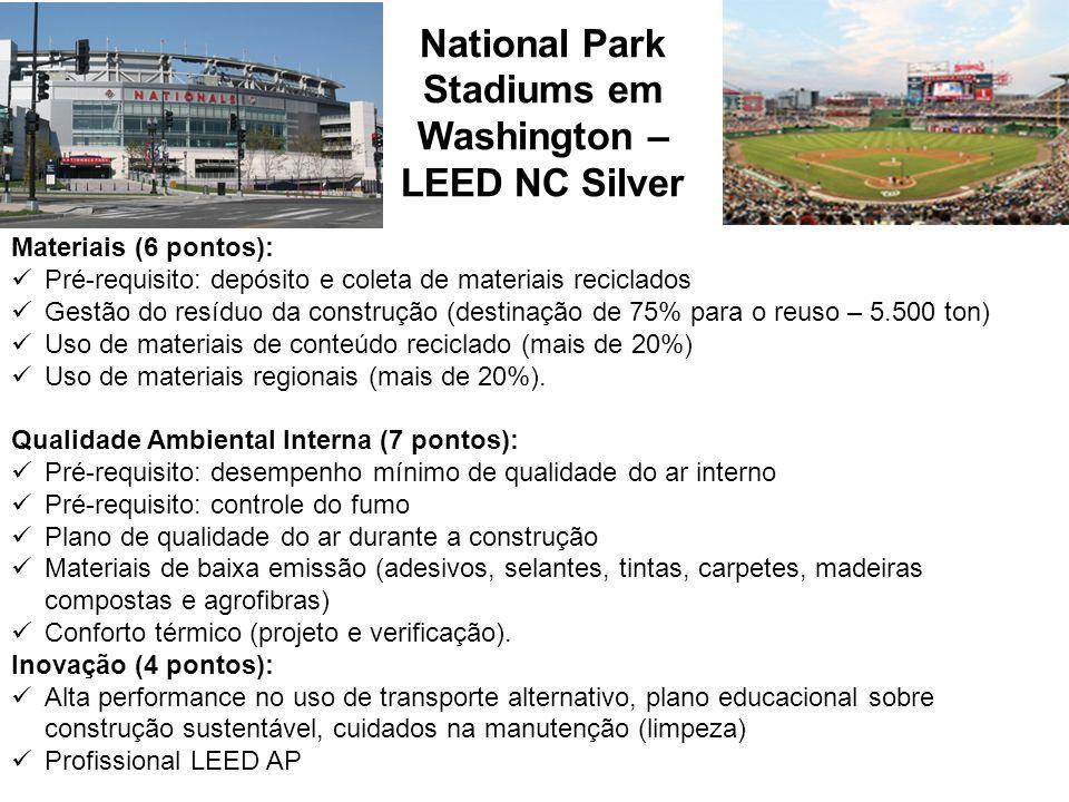 National Park Stadiums em Washington – LEED NC Silver Materiais (6 pontos): Pré-requisito: depósito e coleta de materiais reciclados Gestão do resíduo