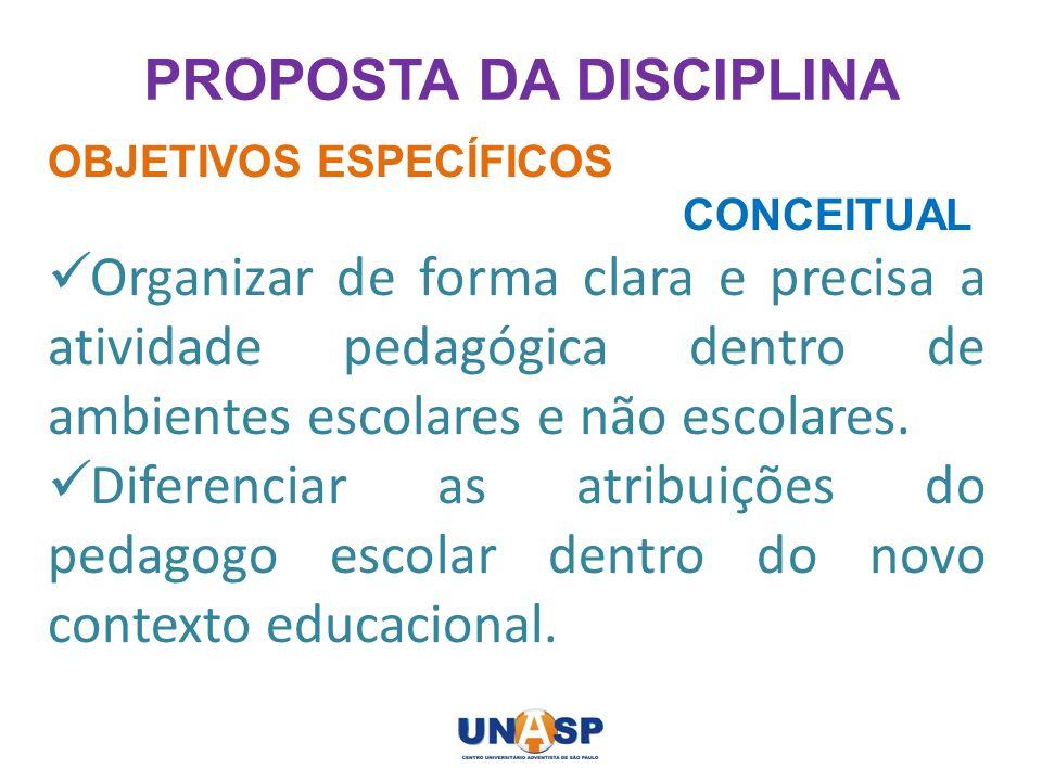 PROPOSTA DA DISCIPLINA OBJETIVOS ESPECÍFICOS CONCEITUAL Organizar de forma clara e precisa a atividade pedagógica dentro de ambientes escolares e não