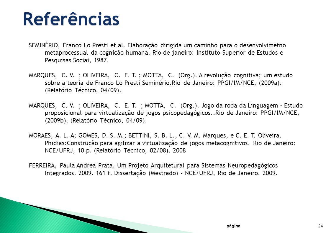 página 24 Referências SEMINÉRIO, Franco Lo Presti et al. Elaboração dirigida um caminho para o desenvolvimetno metaprocessual da cognição humana. Rio