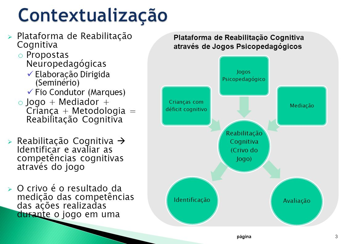 página3 Identificação Avaliação Plataforma de Reabilitação Cognitiva o Propostas Neuropedagógicas Elaboração Dirigida (Seminério) Fio Condutor (Marque