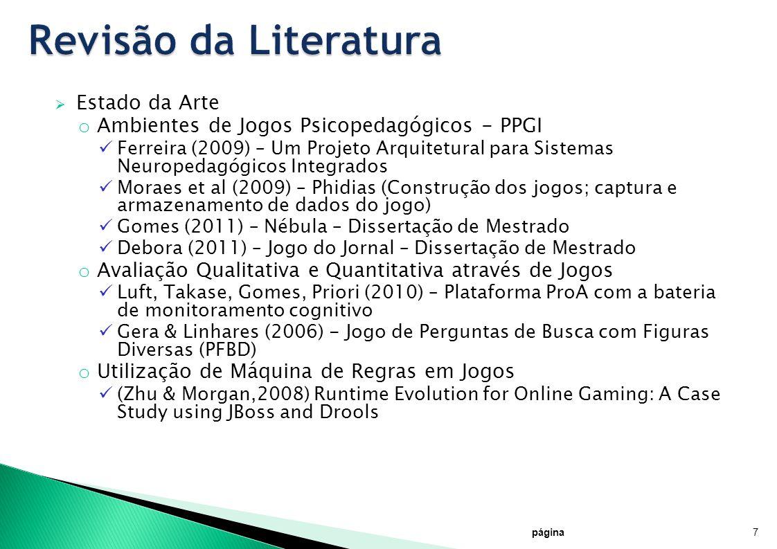 Estado da Arte o Ambientes de Jogos Psicopedagógicos - PPGI Ferreira (2009) – Um Projeto Arquitetural para Sistemas Neuropedagógicos Integrados Moraes