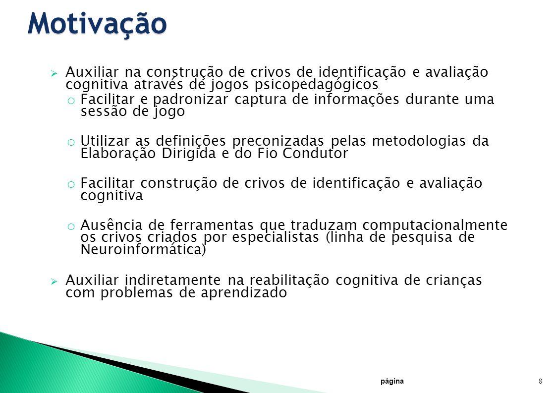 Motivação Auxiliar na construção de crivos de identificação e avaliação cognitiva através de jogos psicopedagógicos o Facilitar e padronizar captura d