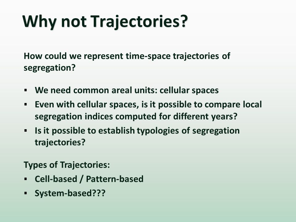 Why not Trajectories. How could we represent time-space trajectories of segregation.