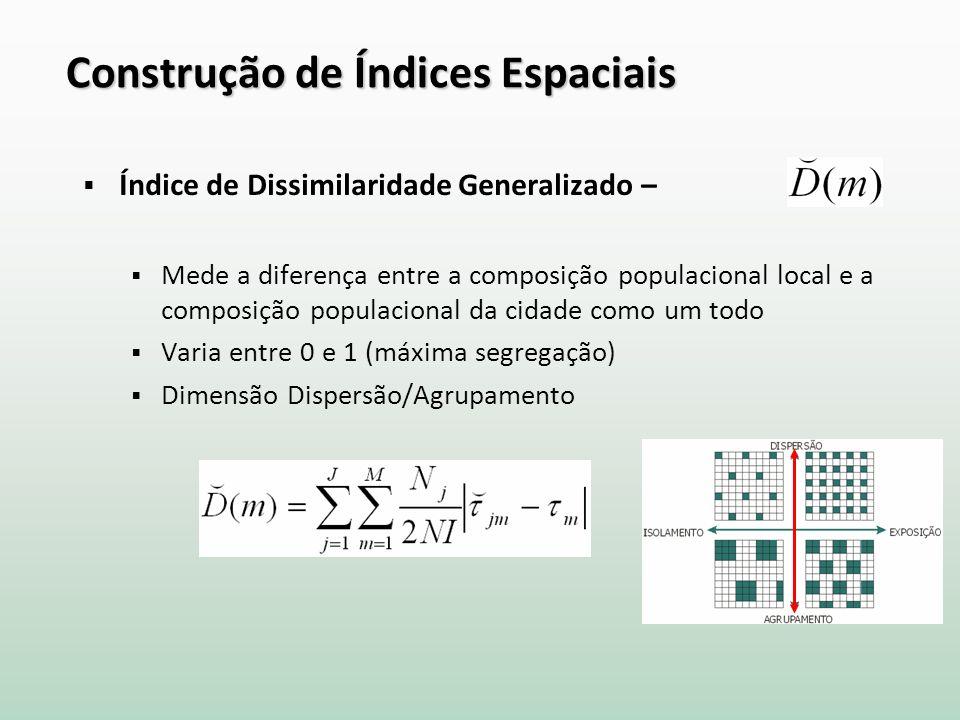 Construção de Índices Espaciais Índice de Dissimilaridade Generalizado – Mede a diferença entre a composição populacional local e a composição populacional da cidade como um todo Varia entre 0 e 1 (máxima segregação) Dimensão Dispersão/Agrupamento