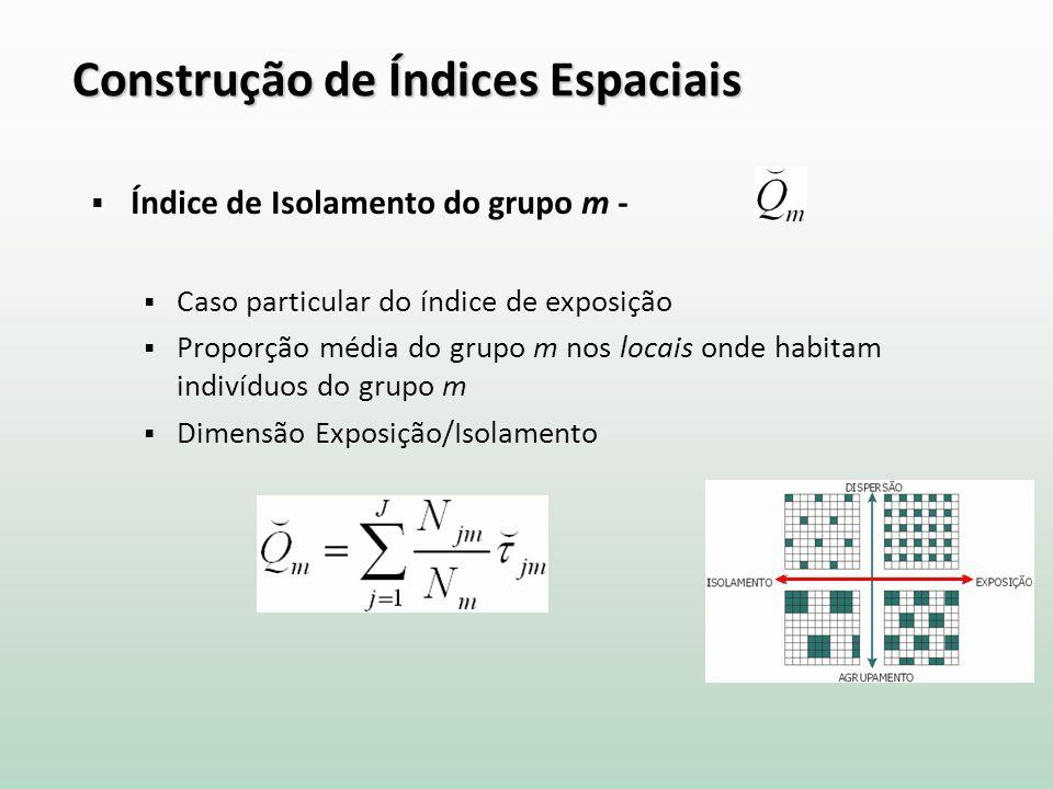 Construção de Índices Espaciais Índice de Isolamento do grupo m - Caso particular do índice de exposição Proporção média do grupo m nos locais onde habitam indivíduos do grupo m Dimensão Exposição/Isolamento