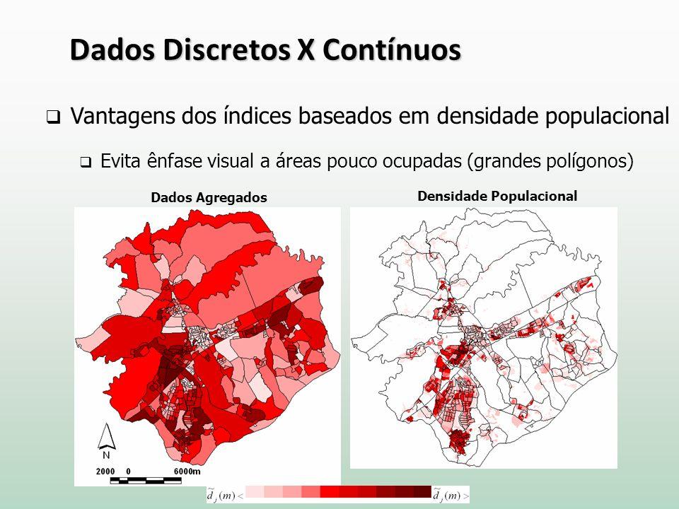 Vantagens dos índices baseados em densidade populacional Evita ênfase visual a áreas pouco ocupadas (grandes polígonos) Dados Agregados Densidade Populacional Dados Discretos X Contínuos
