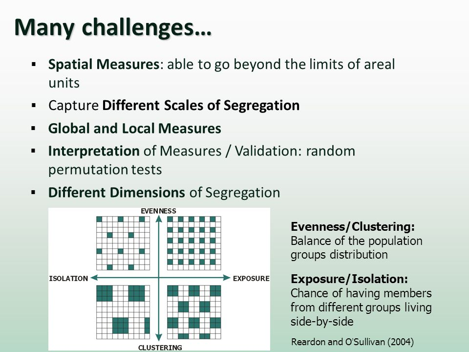 Spatial Measures: able to go beyond the limits of areal units Capture Different Scales of Segregation Global and Local Measures Interpretation of Measures / Validation: random permutation tests Different Dimensions of Segregation Evenness/Clustering: Balance of the population groups distribution Exposure/Isolation: Chance of having members from different groups living side-by-side Reardon and OSullivan (2004)