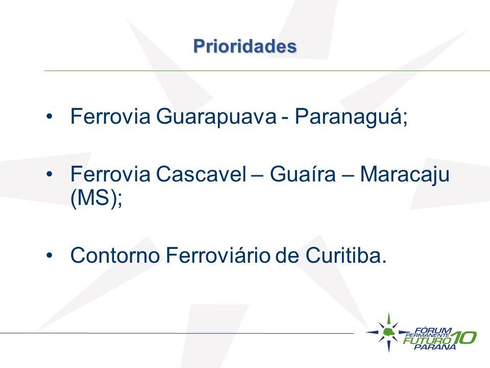 Prioridades Ferrovia Guarapuava - Paranaguá; Ferrovia Cascavel – Guaíra – Maracaju (MS); Contorno Ferroviário de Curitiba.