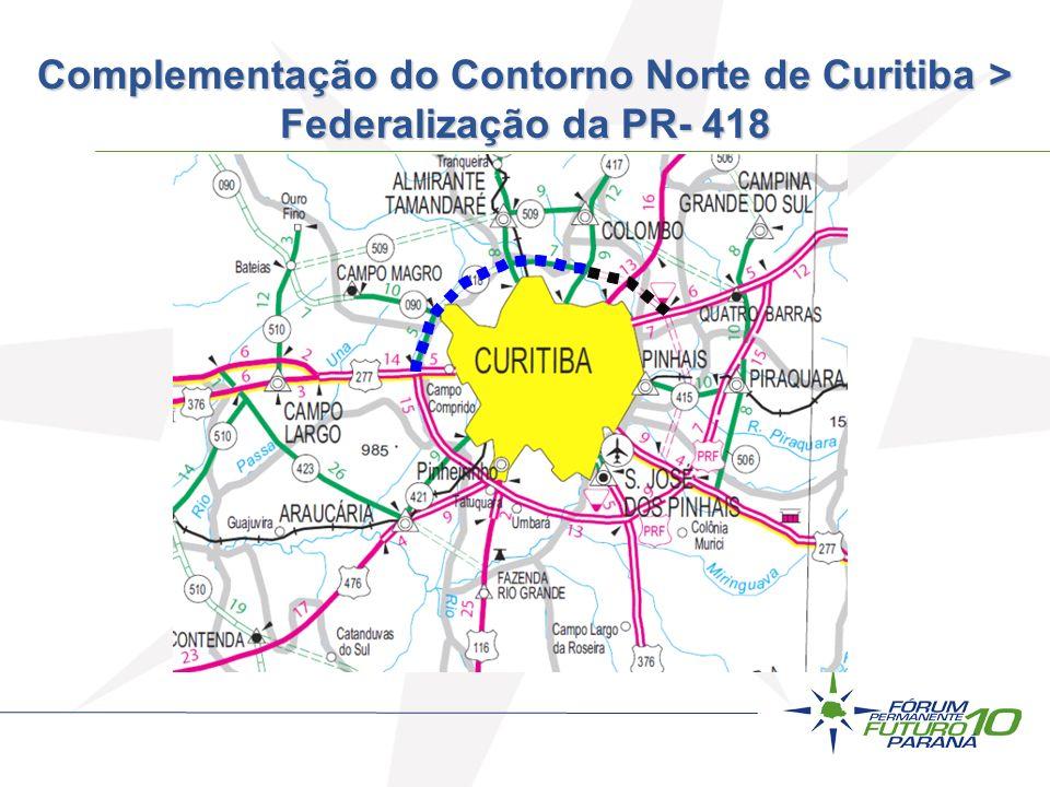 Complementação do Contorno Norte de Curitiba > Federalização da PR- 418
