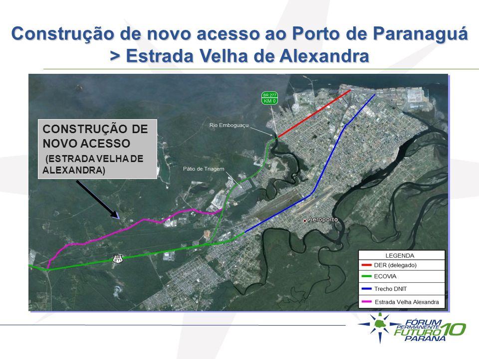 CONSTRUÇÃO DE NOVO ACESSO (ESTRADA VELHA DE ALEXANDRA) Construção de novo acesso ao Porto de Paranaguá > Estrada Velha de Alexandra