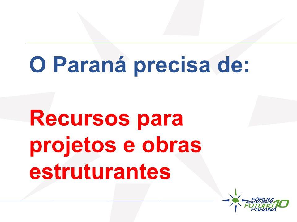 O Paraná precisa de: Recursos para projetos e obras estruturantes