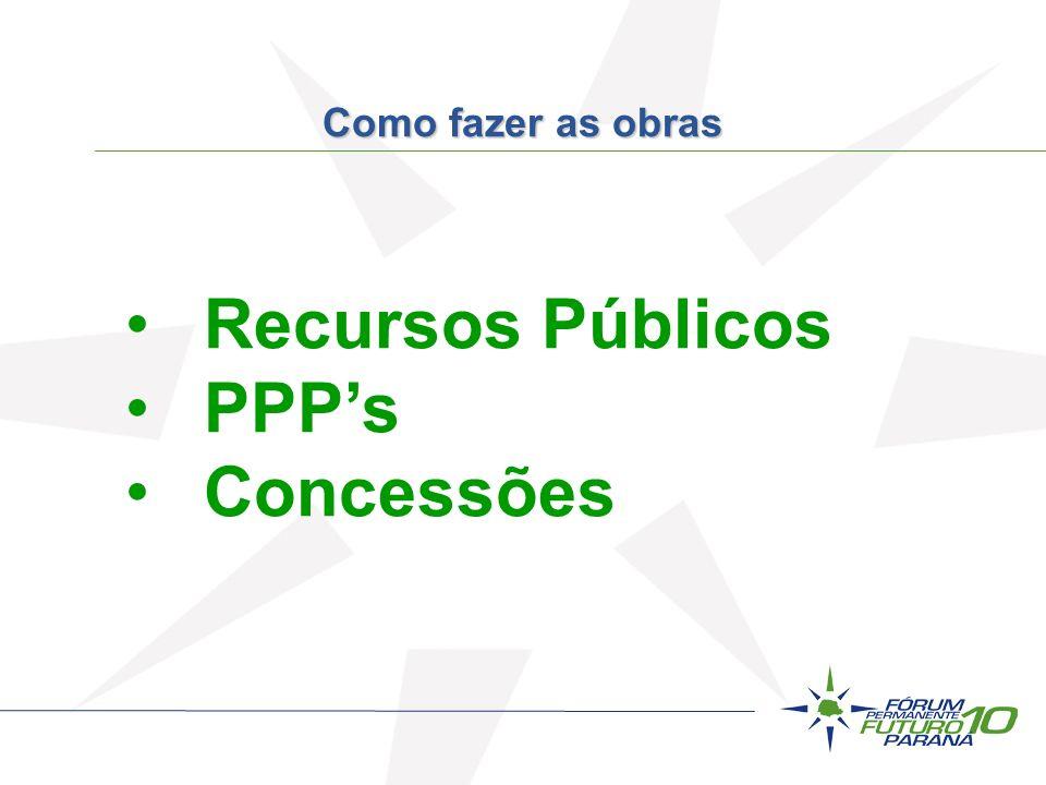 Recursos Públicos PPPs Concessões Como fazer as obras