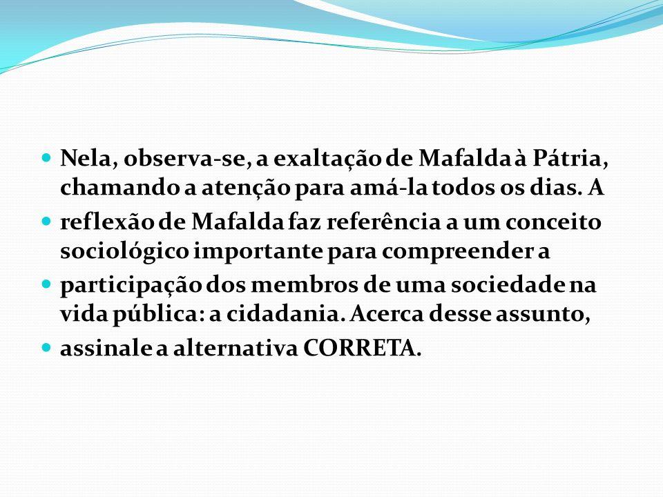 Nela, observa-se, a exaltação de Mafalda à Pátria, chamando a atenção para amá-la todos os dias. A reflexão de Mafalda faz referência a um conceito so