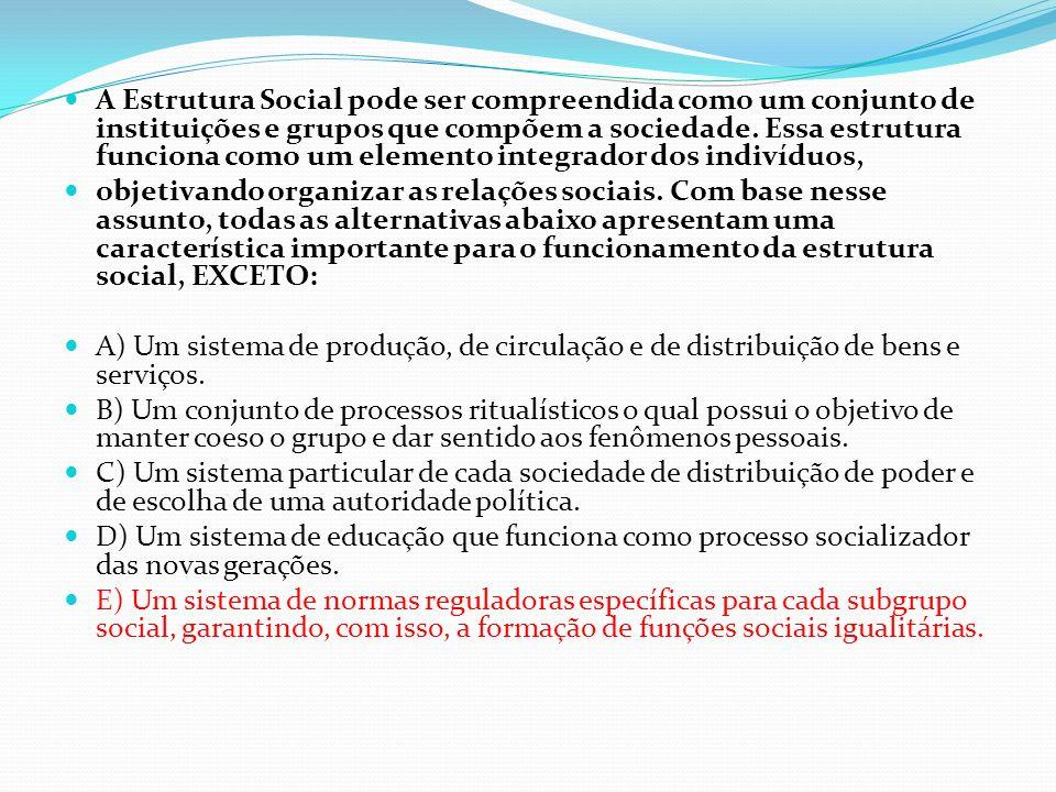 A Estrutura Social pode ser compreendida como um conjunto de instituições e grupos que compõem a sociedade. Essa estrutura funciona como um elemento i