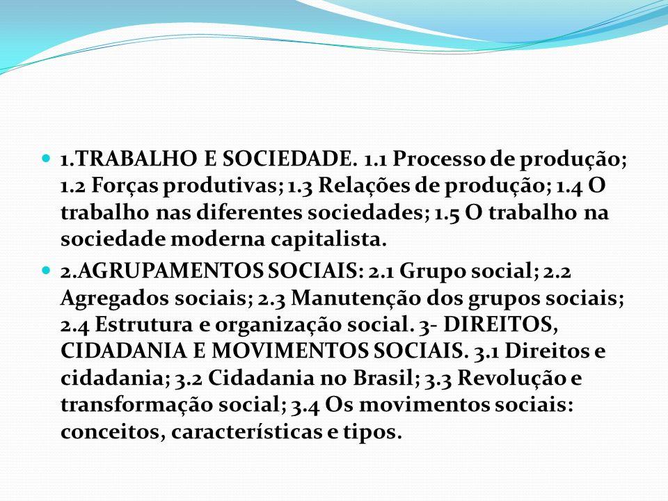 1.TRABALHO E SOCIEDADE. 1.1 Processo de produção; 1.2 Forças produtivas; 1.3 Relações de produção; 1.4 O trabalho nas diferentes sociedades; 1.5 O tra