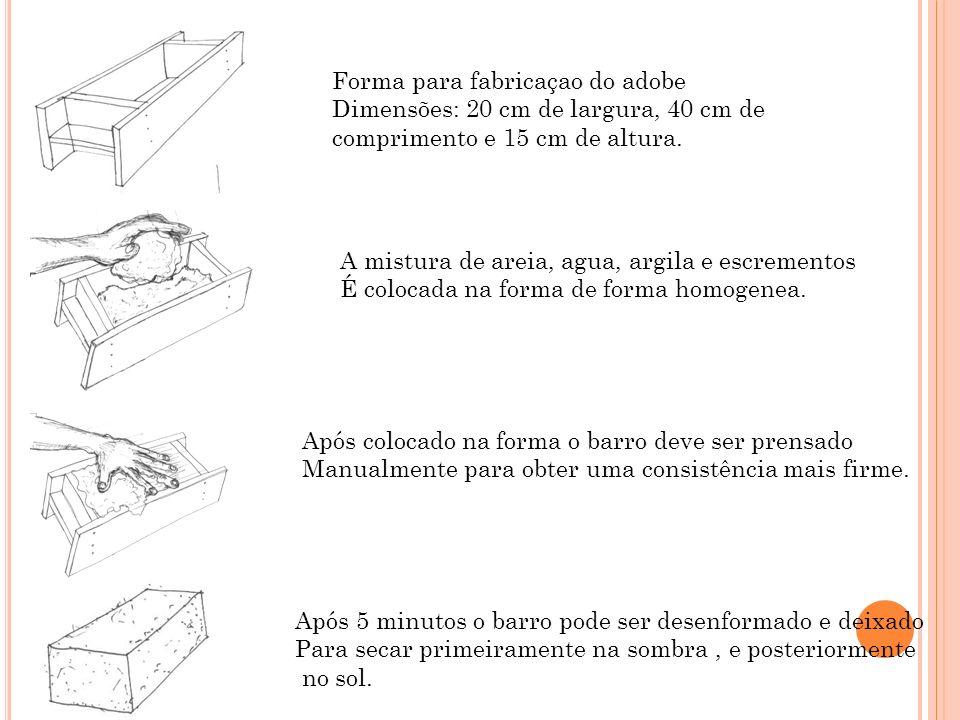 Forma para fabricaçao do adobe Dimensões: 20 cm de largura, 40 cm de comprimento e 15 cm de altura. A mistura de areia, agua, argila e escrementos É c