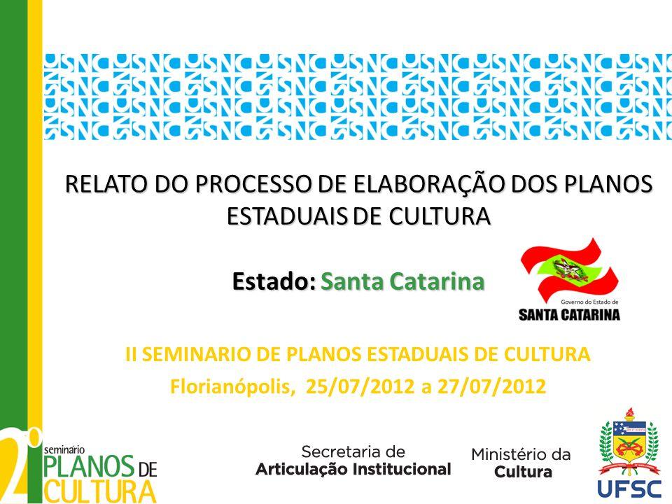 RELATO DO PROCESSO DE ELABORAÇÃO DOS PLANOS ESTADUAIS DE CULTURA Estado: Santa Catarina RELATO DO PROCESSO DE ELABORAÇÃO DOS PLANOS ESTADUAIS DE CULTURA Estado: Santa Catarina II SEMINARIO DE PLANOS ESTADUAIS DE CULTURA Florianópolis, 25/07/2012 a 27/07/2012