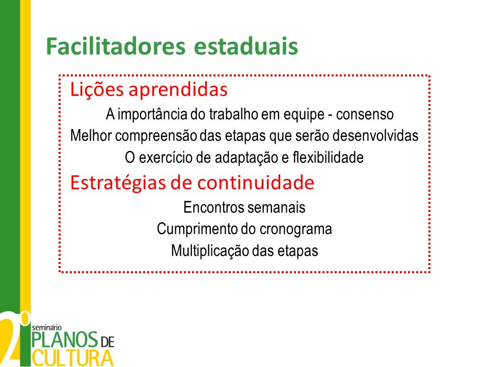 Facilitadores estaduais Lições aprendidas A importância do trabalho em equipe - consenso Melhor compreensão das etapas que serão desenvolvidas O exercício de adaptação e flexibilidade Estratégias de continuidade Encontros semanais Cumprimento do cronograma Multiplicação das etapas
