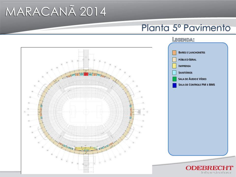 MARACANÃ 2014 Planta 5º Pavimento MARACANÃ 2014 I MPRENSA I MPRENSA S ANITÁRIOS S ANITÁRIOS B ARES E L ANCHONETES B ARES E L ANCHONETES PÚBLICO G ERAL