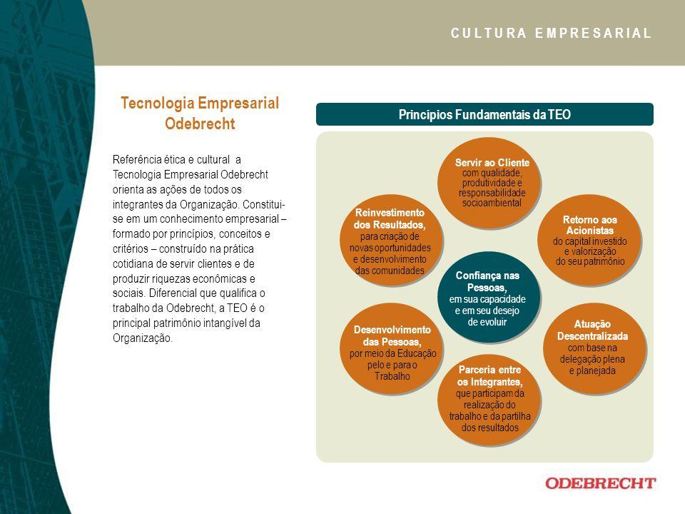 Tecnologia Empresarial Odebrecht Referência ética e cultural a Tecnologia Empresarial Odebrecht orienta as ações de todos os integrantes da Organização.