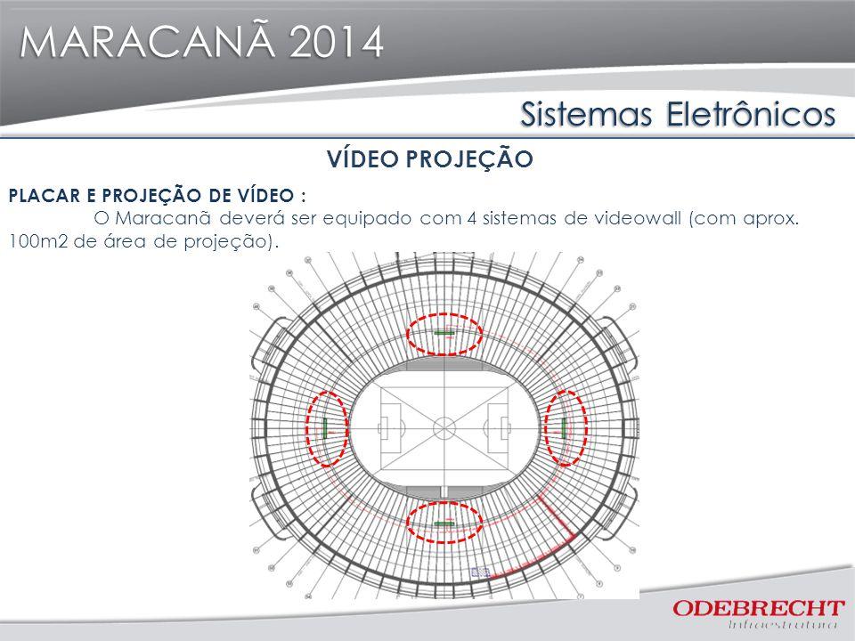 Sistemas Eletrônicos MARACANÃ 2014 VÍDEO PROJEÇÃO PLACAR E PROJEÇÃO DE VÍDEO : O Maracanã deverá ser equipado com 4 sistemas de videowall (com aprox.