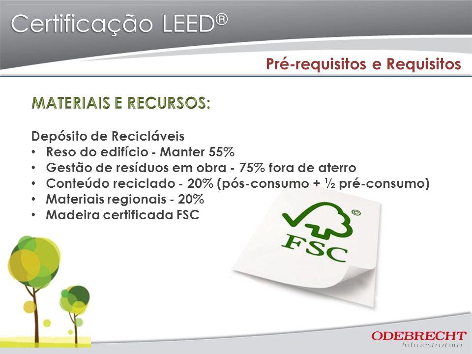 Certificação LEED ® Pré-requisitos e Requisitos Depósito de Recicláveis Reso do edifício - Manter 55% Gestão de resíduos em obra - 75% fora de aterro Conteúdo reciclado - 20% (pós-consumo + ½ pré-consumo) Materiais regionais - 20% Madeira certificada FSC
