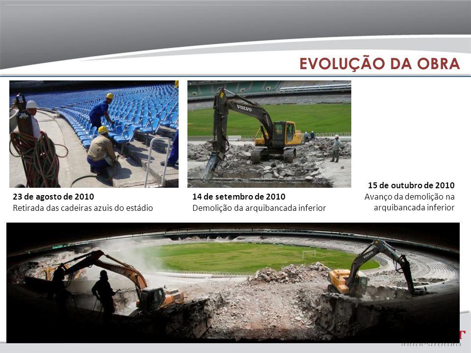14 de setembro de 2010 Demolição da arquibancada inferior 23 de agosto de 2010 Retirada das cadeiras azuis do estádio 15 de outubro de 2010 Avanço da demolição na arquibancada inferior EVOLUÇÃO DA OBRA