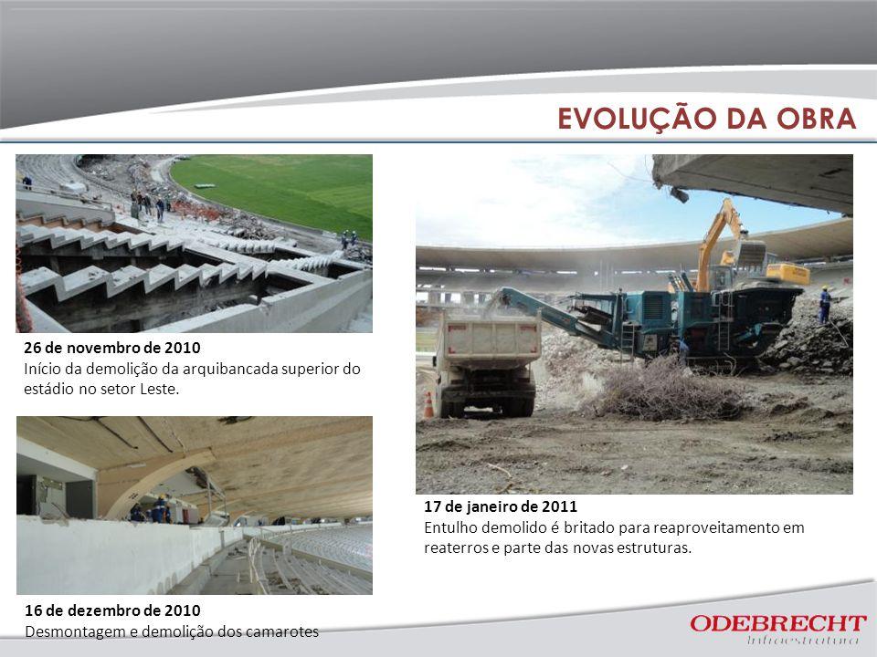 16 de dezembro de 2010 Desmontagem e demolição dos camarotes 26 de novembro de 2010 Início da demolição da arquibancada superior do estádio no setor Leste.