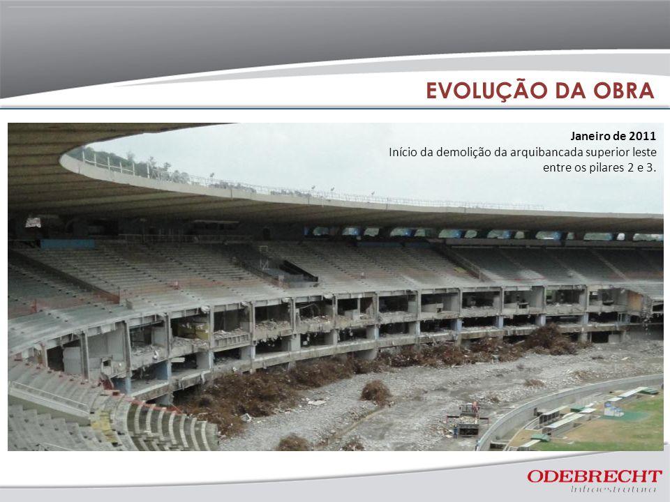 Janeiro de 2011 Início da demolição da arquibancada superior leste entre os pilares 2 e 3. EVOLUÇÃO DA OBRA