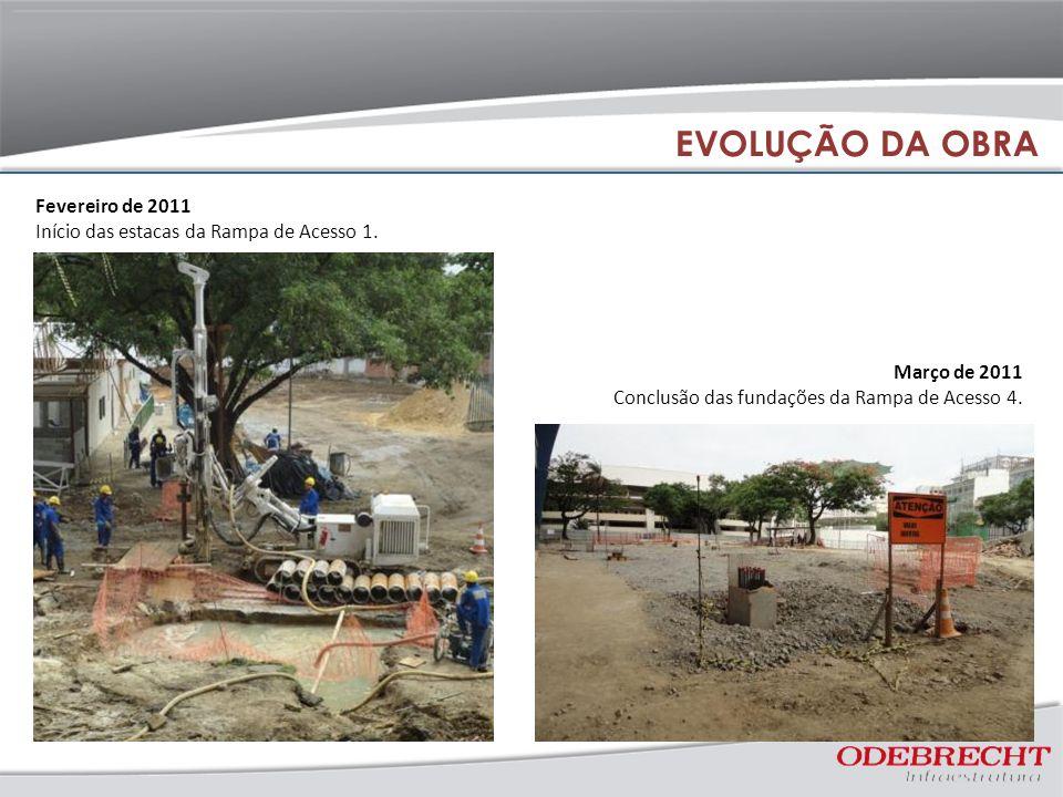 Fevereiro de 2011 Início das estacas da Rampa de Acesso 1. Março de 2011 Conclusão das fundações da Rampa de Acesso 4. EVOLUÇÃO DA OBRA