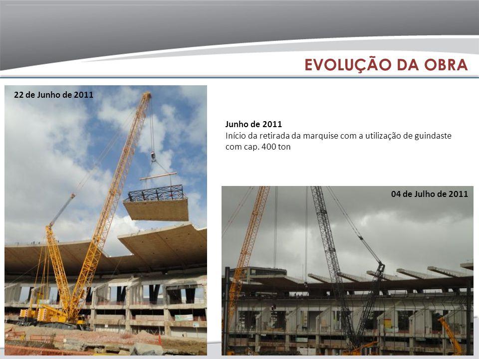 Junho de 2011 Início da retirada da marquise com a utilização de guindaste com cap. 400 ton 22 de Junho de 2011 04 de Julho de 2011 EVOLUÇÃO DA OBRA