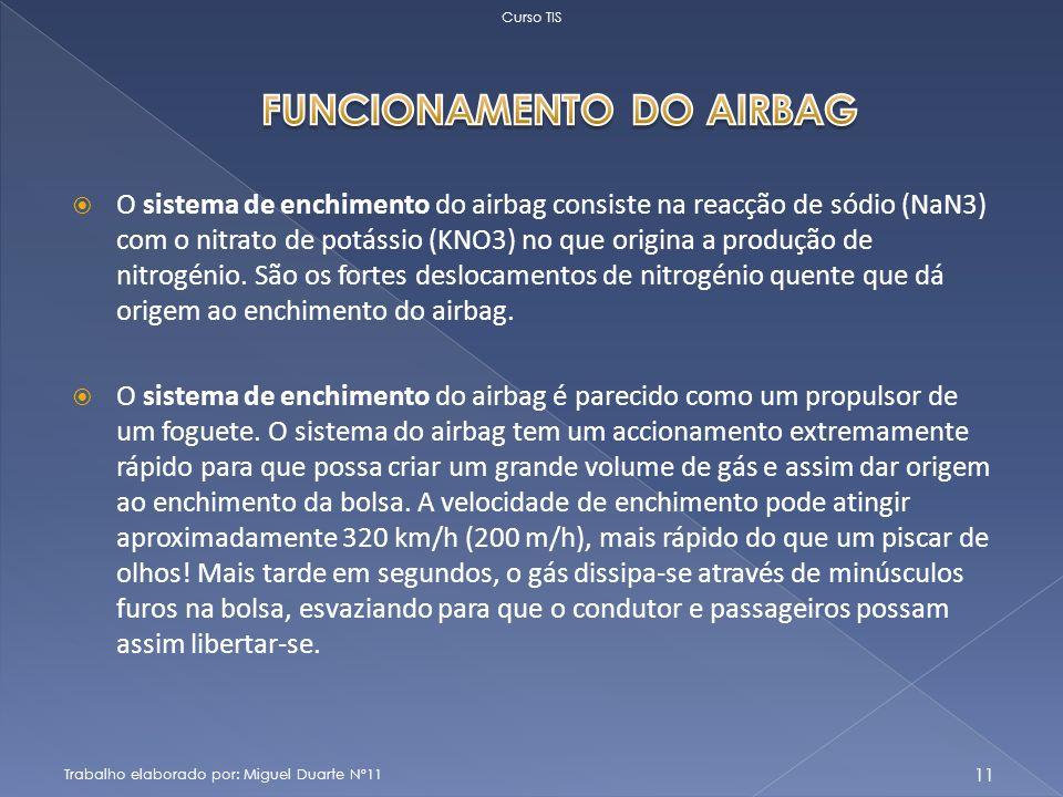 O sistema de enchimento do airbag consiste na reacção de sódio (NaN3) com o nitrato de potássio (KNO3) no que origina a produção de nitrogénio.