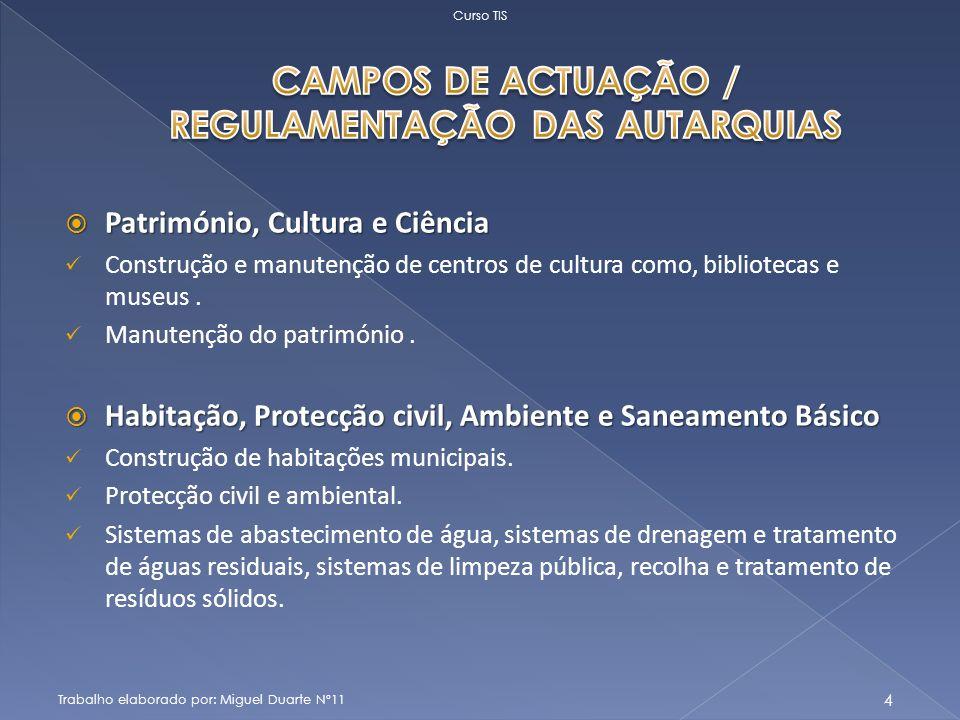 Património, Cultura e Ciência Património, Cultura e Ciência Construção e manutenção de centros de cultura como, bibliotecas e museus.