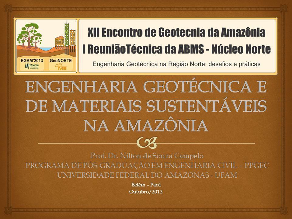 Belém - Pará Outubro/2013 Prof. Dr. Nilton de Souza Campelo PROGRAMA DE PÓS-GRADUAÇÃO EM ENGENHARIA CIVIL – PPGEC UNIVERSIDADE FEDERAL DO AMAZONAS - U
